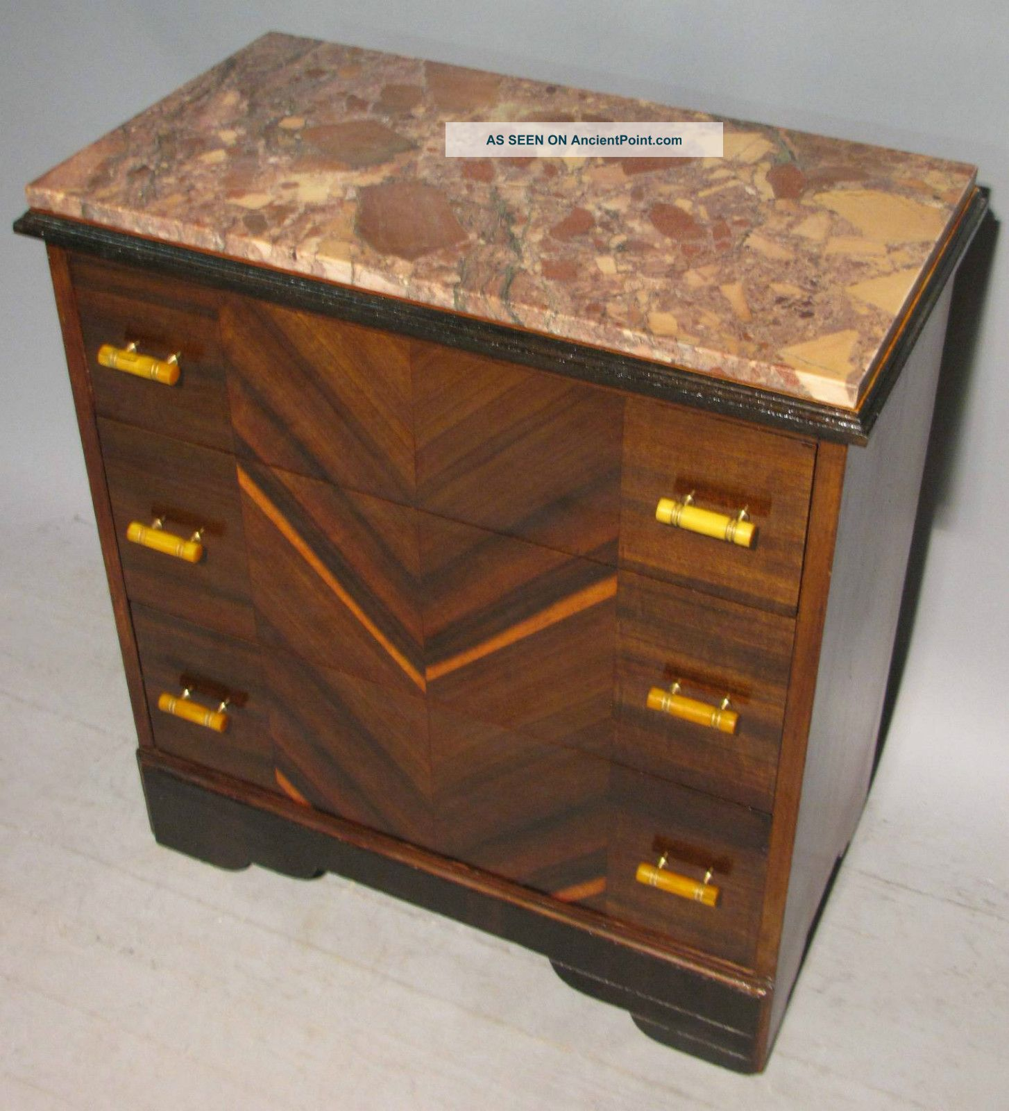 Marble Three Drawer Bachelors Chest Art Deco Table Stand Tableau Bakelite 1900-1950 photo