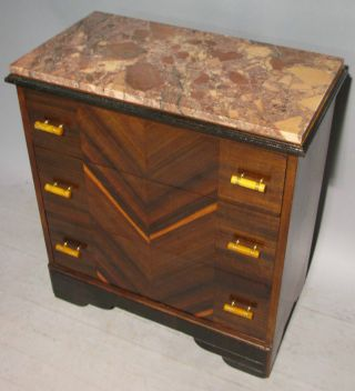 Marble Three Drawer Bachelors Chest Art Deco Table Stand Tableau Bakelite photo
