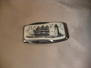 Scrimshaw Resin Money Clip Knife Side Ship - Lighthouse photo