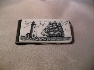 Scrimshaw Resin Money Clip Side Ship - Lighthouse photo