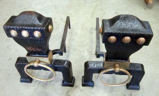 Vintage Rustic Andirons,  Brass Cast Iron Fireplace Andirons photo