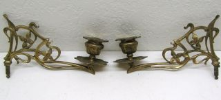 Antique Old Pair Arts&crafts Piano Candle Holders Victorian Sconces Solid Brass photo