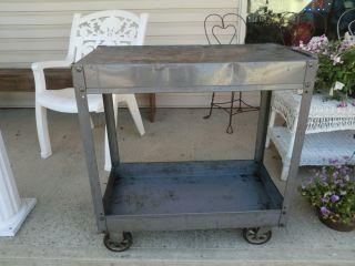 Vintage Industrial Steel Cart - Interior Decor - Salvage - Kitchen Island Or Bar photo