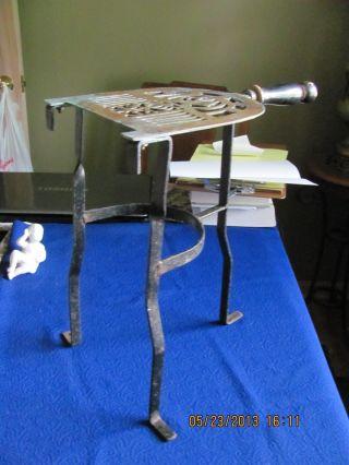 Antique Hand - Wrought Brass & Iron Fireplace Trivet photo