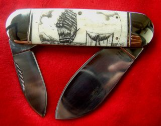 Hand Done Nautical Scrimshaw Art,  Ship,  Whale Tail,  Island,  Folding Knife/knives photo