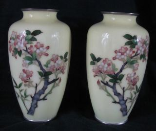 Pair Of Japanese Inaba Cloisonne Vases photo