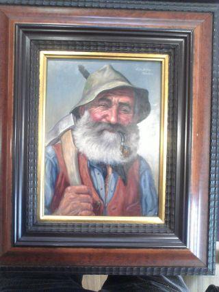 4 - Fritz Muller Oil Paint ' G German Bavarian Man W/ Pipe Spittler Receipt photo