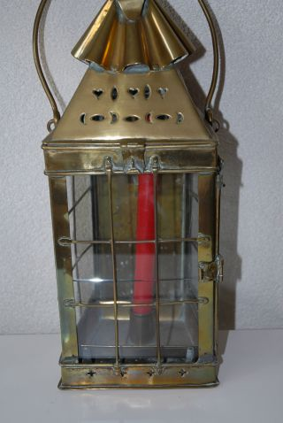 Antique Quality Thick Brass Candle Lantern,  Circa 1800. photo