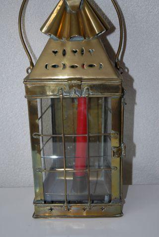Antique Quality Thick Brass Candle Lantern,  Circa 1800. photo