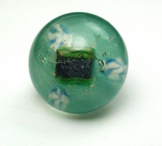 Antique Paperweight Glass Button Blue Green Under Crystal Dome photo