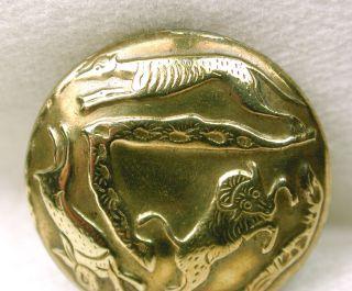 Antique Brass Sporting Button Rabbit Fox & Buffalo Design photo