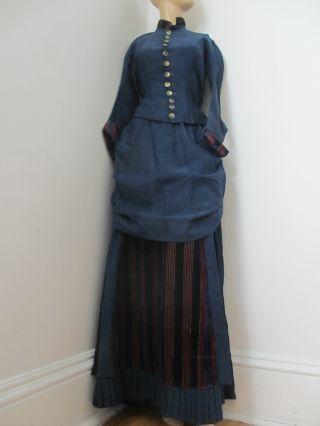 Antique 1870 - 1889 Victorian Dress Blue Red Gold Velvet Bustle Skirt 12 Amazing photo