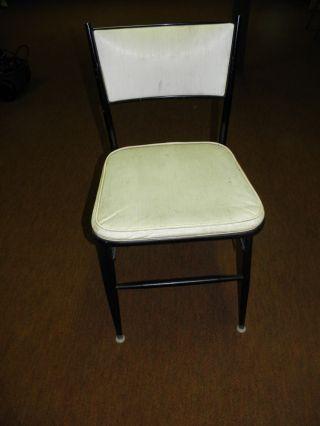4 Mid Century Celesta Folding Chairs,  Black Metal & White Vinyl photo