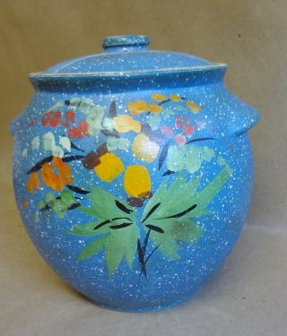 Antique Handmade Blue W Painted Flower Clay Pot Lidded With Lid & Handles S photo