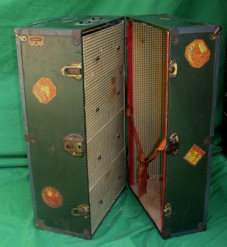 Late 1800s Child ' S Steamer Trunk With Travel Decals For Traveling photo