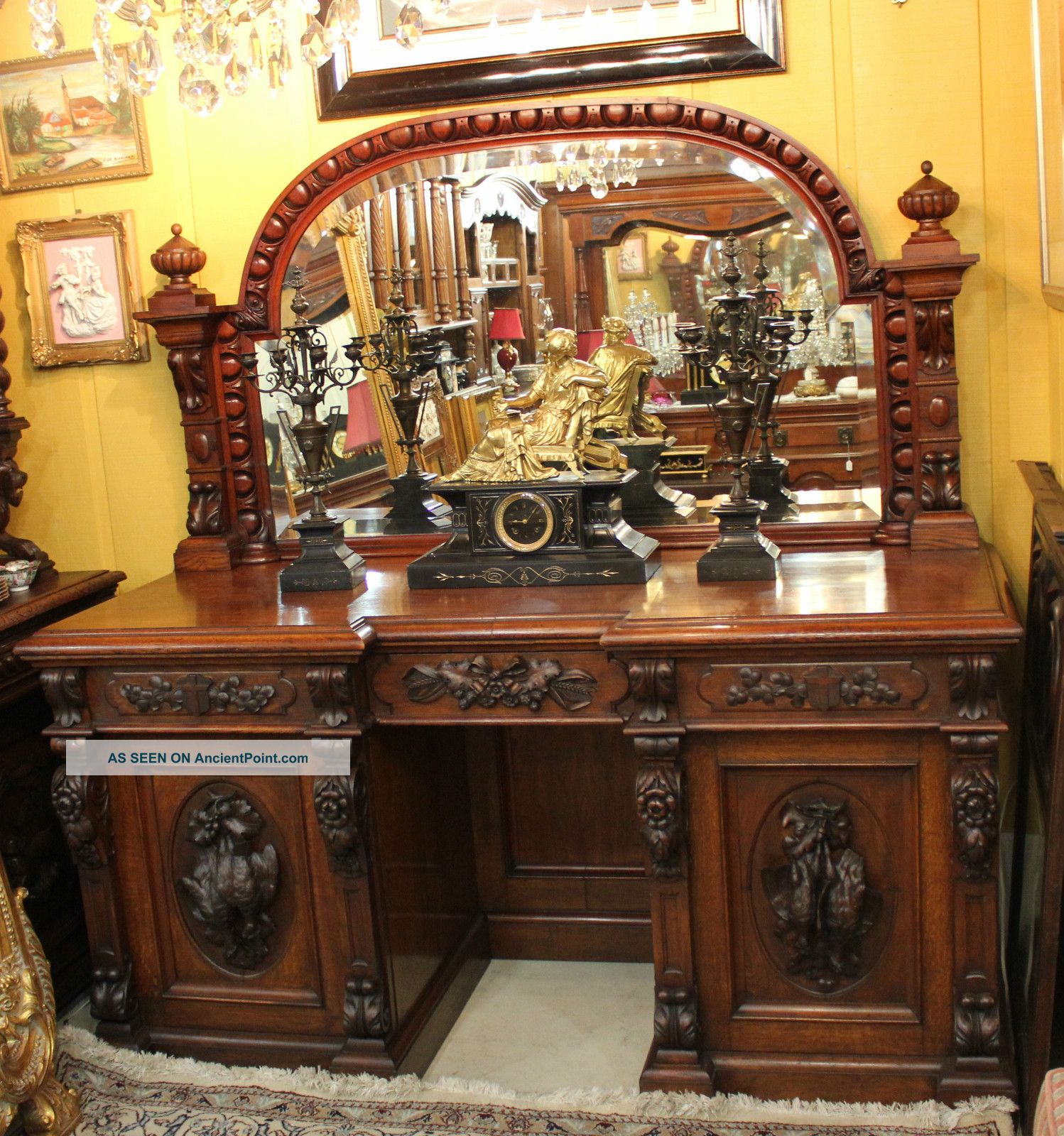 Magnificently Carved French Antique Hunt Scene Sideboard / Buffet.  Rosewood. 1800-1899 photo