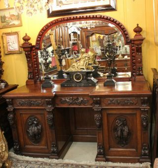 Magnificently Carved French Antique Hunt Scene Sideboard / Buffet.  Rosewood. photo