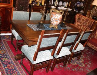 French Antique Henryii Oak Renaissance Dining Set (table & 6 Chairs) photo