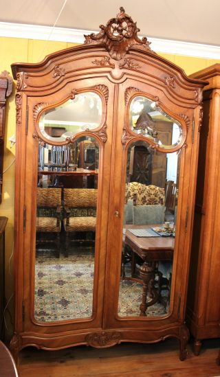 Magnificent Louis Xv French Antique Armoire.  Made From Walnut. photo