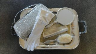 6 Piece Antique Vanity Set - Matching Silver Brush,  Comb,  Mirror,  Gloves,  Purse photo