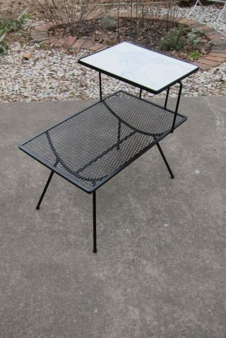 Mid Century Modern Wrought Iron Side Table George Nelson Arbuck Italian Marble photo