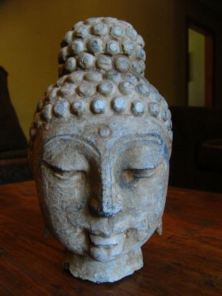 Cast Of Stone Sakyanuni Buddha Head,  Lanna Style 16th C Thailand photo