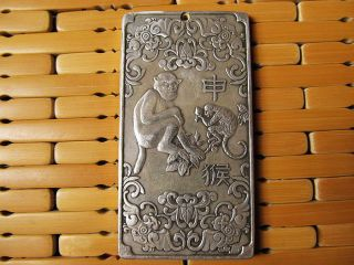 "Old Tibetan Silver Tibet Nepal Statue Chinese Zodiac ""monkey""amulet Thangka photo"