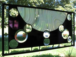 Moon Waves Stained Glass Window Panel Nr photo