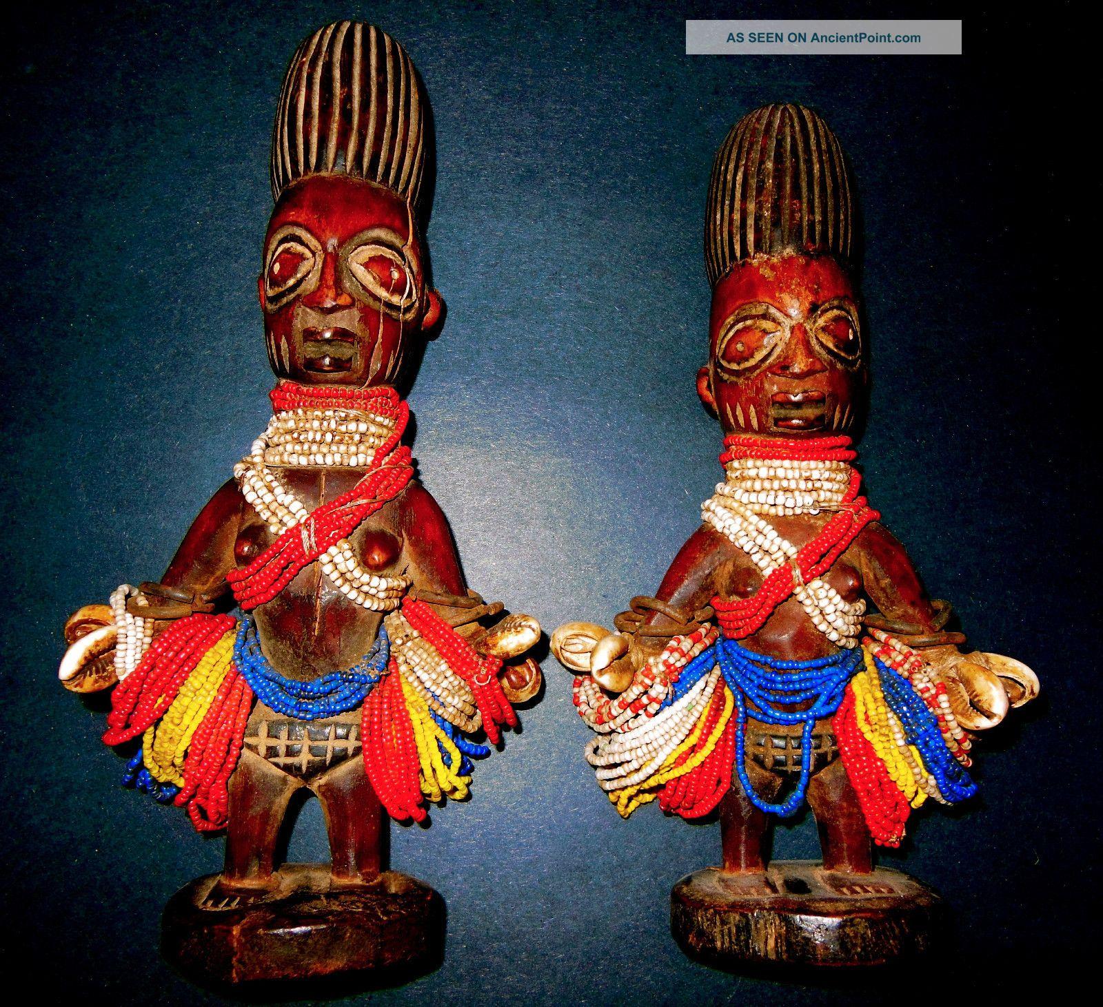 African Tribal Yoruba Ibeji Twin Pair Ethnographic Art,  Decor,  Sculpture Nigeria Sculptures & Statues photo