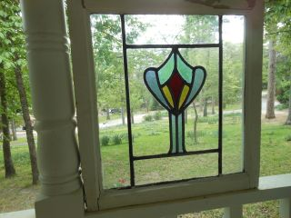 A289 Older & Pretty Multi - Color English Leaded Stained Glass Window 3 Available photo