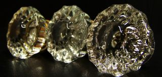 3 Vintage Door Knobs Architectural Glass Crystal Clear Antique Hardware Handles photo