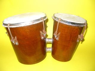 A Pair Of Old Bongo Drums Beautifully Made Chrome Clamps Leather Skin Great photo