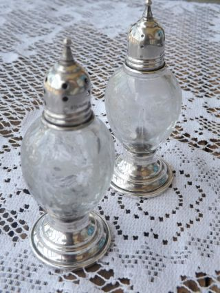 Sheffield Vintage Salt & Pepper Shakers,  Sterling Silver/etched Glass photo