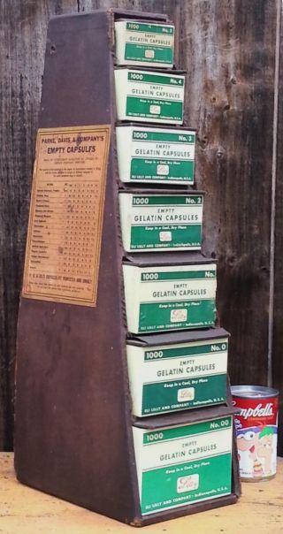 Antique Eli Lilly Capsule Display Graduated Drug Store 7 Box Rack Pharmacy photo