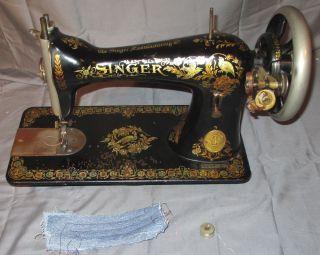 Rare Serviced Antique 1906 Singer 15 - 30 Pheasant Treadle Sewing Machine C - Video photo