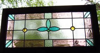 Leaded Stained Glass Window - Victorian Green Tulip photo