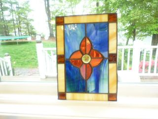 Vintage Colorful Well Made Stained Glass Small Window Or Wall Hanging photo