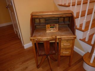 Vintage Anqiue Childrens Oak Roll Top Desk With Matching Chair photo