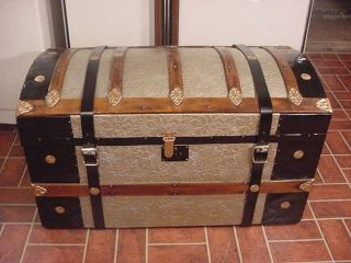 Refinished Dome Top Victorian Steamer Trunk Antique Chest With Straps & Buckles photo
