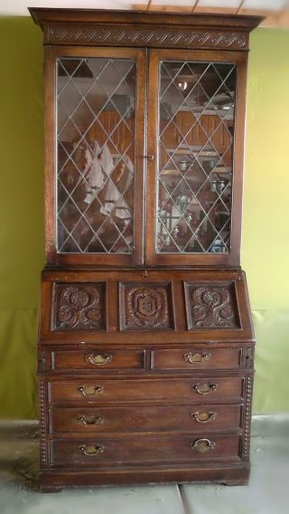 Antique Secretary Desk W/lead Glass Bookcase C1900 ' S England photo