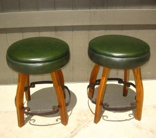 Pair Two Vintage Spanish Style Chet Beardsley Bar Stools Mid Century Moderngreen photo