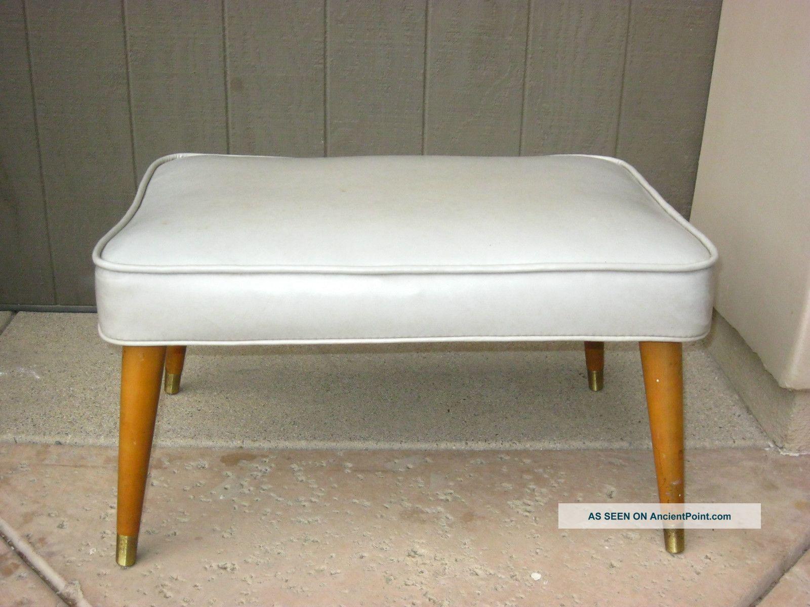 Image of: Vintage Mid Century Danish Modern Bench Ottoman Footstool In Off White Vinyl