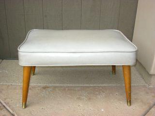 Vintage Mid Century Danish Modern Bench Ottoman Footstool In Off White Vinyl photo