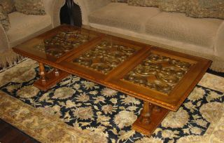 Vintage French Provincial Coffee Table Carved Mid Century Hollywood Regency photo