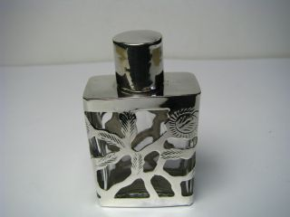 A Vintage Sterling Silver & Glass Perfume Bottle Sent Bottle Taxco Mexico C1950s photo