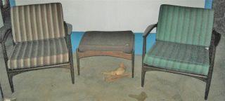 Vtg Pr Selig Mid Century Modern/danish Chairs+footstool Denmark Eames Atomic Era photo