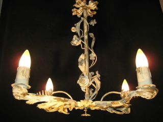 Antique French Art Nouveau / Provincial Iron Chandelier From 1920s photo