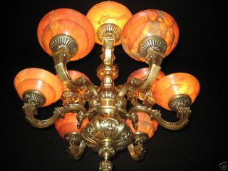 Antique Solid Bronze & Real Alabaster 9 Light Chandelier From The 1950s photo