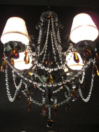 French Country Wrought Iron Chandelier From The 1930s photo
