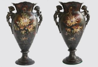 Stunning Pair 19th Century Limoges Porcelain Vases - Sazerat/ Blondeau 1859 - 1906 photo